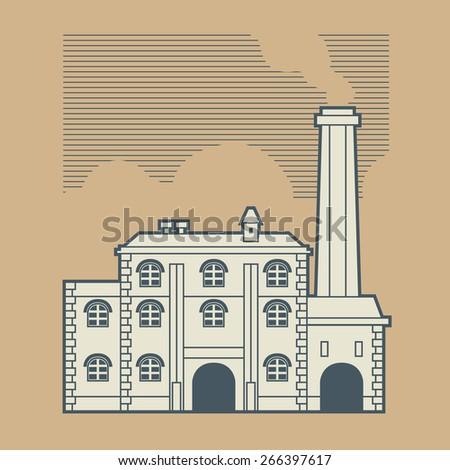 Vintage factory design, vector illustration  - stock vector