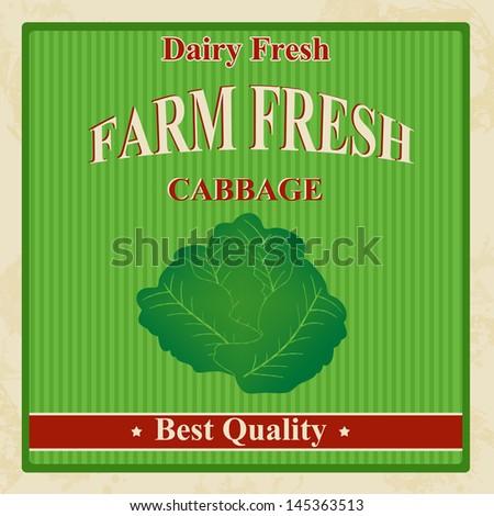 Vintage farm fresh cabbage poster, vector illustration - stock vector