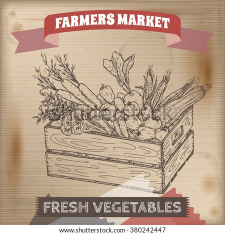 Vintage farmers market label with vegetables in wooden crate. Placed on wooden texture. Includes hand drawn elements.  - stock vector