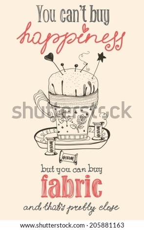 Vintage fashion and sewing poster with pin cushion, illustration, VECTOR - stock vector
