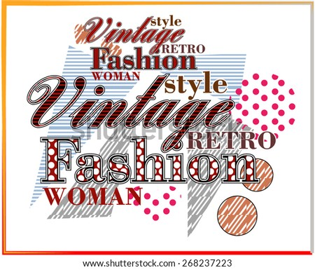 Vintage Fashion text design - stock vector
