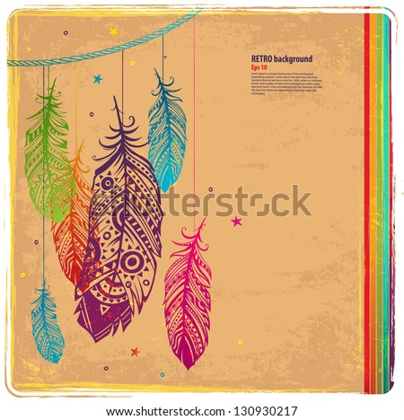 Vintage Feather illustration for your greeting card ot fabric print - stock vector