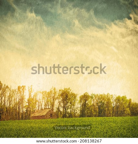 vintage field and blue sky, nature vector background - stock vector