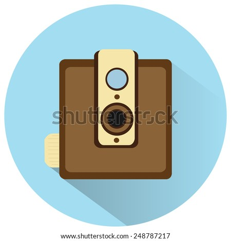 vintage film camera vector icon - stock vector
