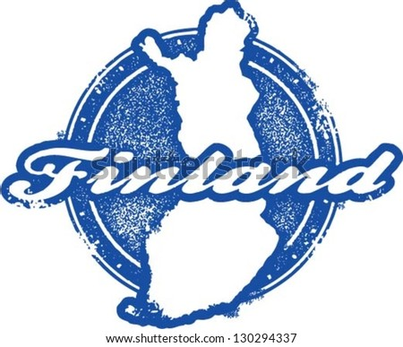 Vintage Finland Country Stamp - stock vector