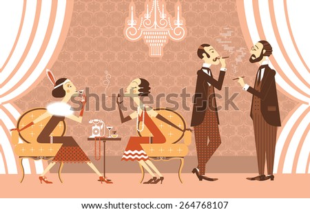 Vintage Flapper girls and genltemen talking in room.Vector illustration of retro party - stock vector