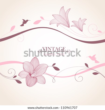 Vintage floral background. Beautiful frame with flowers lily and bird. Element for design. - stock vector