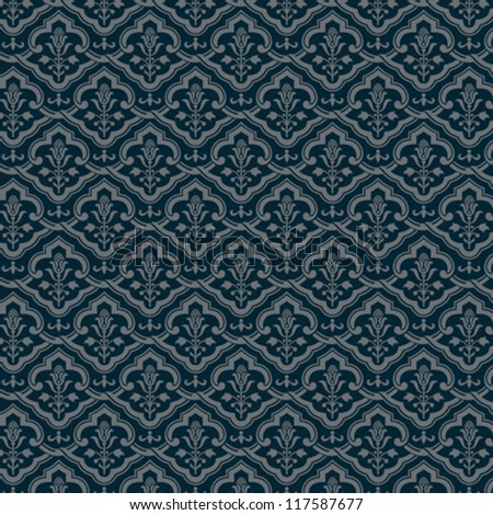 Vintage floral background. Flourish seamless pattern. Old style wallpaper. Vector. - stock vector