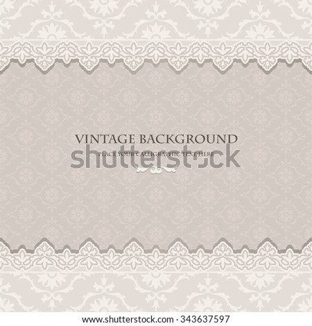 Vintage floral background, light greeting card, invitation with beautiful lace and damask ornaments, luxury postcard, cute page cover, ornamental pattern template, elegant layout for design - stock vector