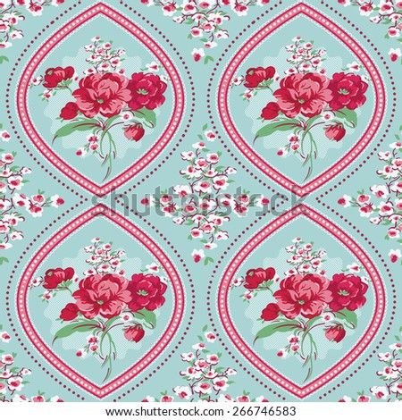 Vintage Floral Background - Seamless Flowers Tile Pattern - in vector - stock vector