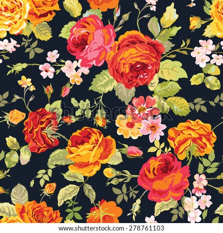 Vintage Floral Background - seamless pattern for design, print, scrapbook - in vector - stock vector