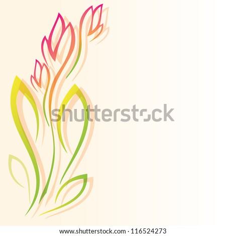 Vintage floral background. Vector flower. Border floral element - stock vector