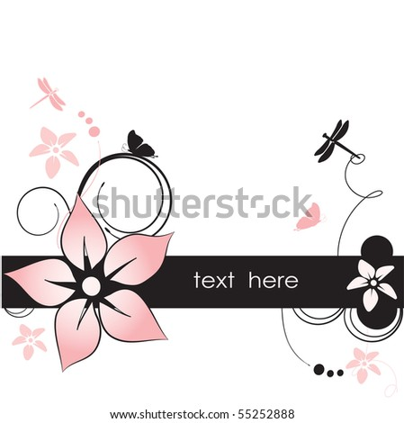 Vintage Floral background with butterflies - stock vector