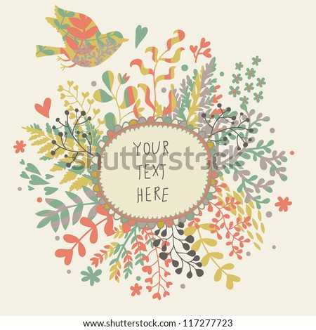 Vintage floral background with cute bird in pastel colors - stock vector