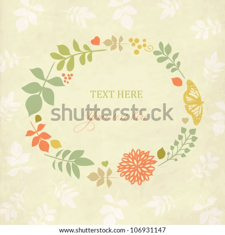 Vintage floral background with leaves,flowers and butterfly - stock vector