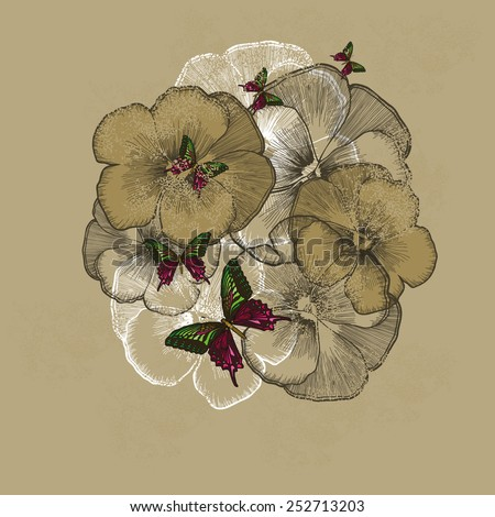 Vintage floral background with pansies. Vector illustration. - stock vector