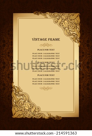 Vintage floral background with royal, gold ornamental art frame, victorian style border, damask rich wallpaper ornaments, luxury invitation card, creative certificate template for design  - stock vector