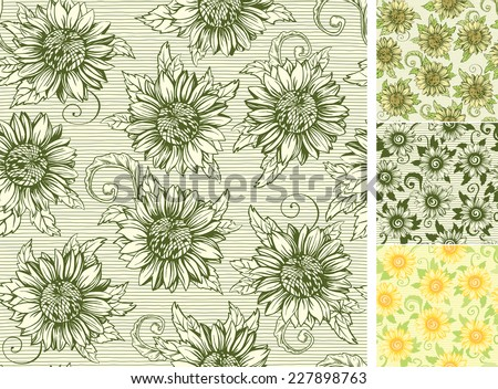 Vintage floral backgrounds. Vector ornate seamless  patterns with Sunflowers at engraving style - stock vector