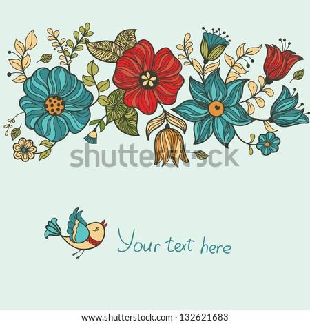 Vintage floral banner. Vector illustration. - stock vector