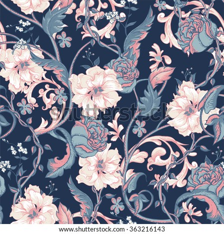 Vintage floral baroque seamless pattern with blooming magnolias, roses and twigs, vector flower magnolia tree pattern, vector nature illustration in victorian style - stock vector