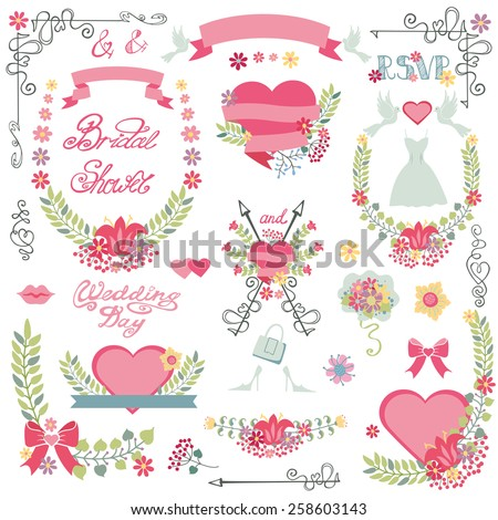 Vintage floral Bridal shower set for invitations card,greeting,RSVP, love design template.Floral wreath,bouquet,ribbon and heart,swirls,headline.Cute wedding Vector decor. - stock vector