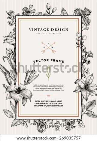 Vintage Floral Card. Frame with Engraving Flowers. Botanical Illustration with Roses, Lilies and other Flowers. Retro Graphic Style. - stock vector