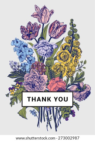 Vintage floral card. Victorian bouquet. Colorful peonies, mallow, delphinium, roses, tulips, violets, petunia. Thank you. Vector illustration. - stock vector