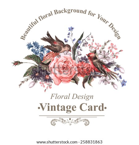 Vintage Floral Card with Roses, Wildflowers and Birds, vector watercolor illustration - stock vector