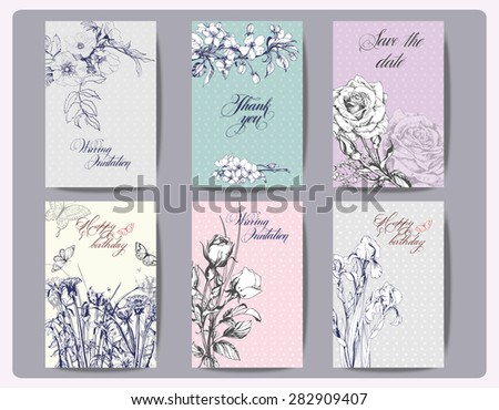 Vintage Floral Cards Set. Frame with  Roses, irises,  and other Flowers. Vector illustration - stock vector