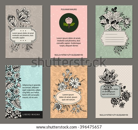 Vintage Floral Cards - Set of pastel floral cards with inked botanicals, patterned background, labels and ample copy space - stock vector