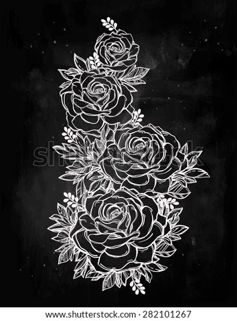 Vintage floral highly detailed hand drawn rose forming roses stem with ornate leaves. Victorian Motif, tattoo design element. Bouquet concept art. Isolated vector illustration in line art style.  - stock vector