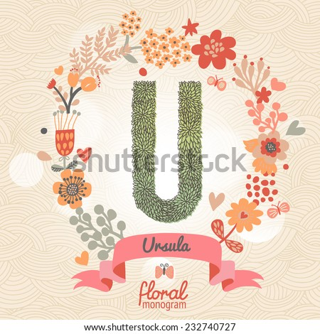 Vintage floral monogram made of green leafs and bright flowers in vector. Stylish letter U can be used for posters, cards, invitations, blogs, websites, backgrounds and any other stylish designs - stock vector
