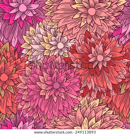 Vintage floral pattern in pink colors. Hand drawn chrysanthemums flowers.Vector illustration for design of gift packs, wrap,  patterns fabric, wallpaper, web sites and other.  - stock vector