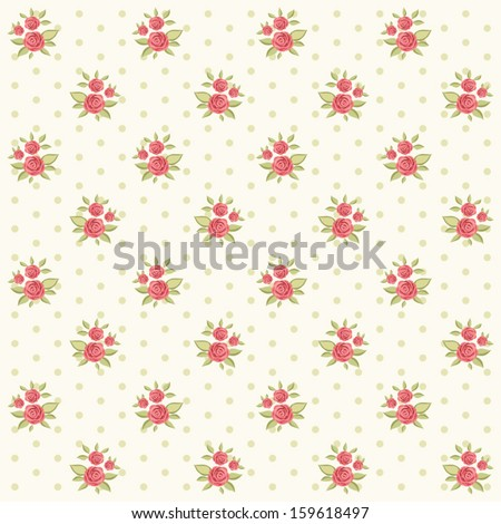 Vintage floral pattern with roses and dots in shabby chic style - stock vector