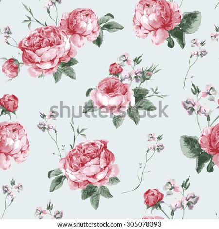 Vintage Floral Seamless Background with Blooming English Roses, Vector watercolor Illustration  - stock vector