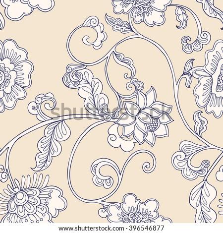 Vintage floral seamless pattern.  Vector illustration. - stock vector
