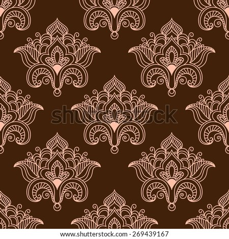 Vintage floral seamless pattern with contoured pink flowers in traditional persian paisley style on dark brown background - stock vector