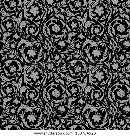 Vintage Floral seamless pattern with stylized wildflowers. In the style of the 19th century. Dark, black with gray - stock vector
