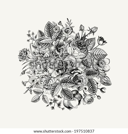 Vintage floral vector bouquet with Black & White summer garden flowers.  - stock vector