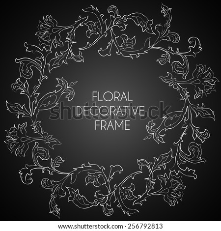 Vintage floral vector chalk frame on blackboard background. Templates for wedding invitation. - stock vector