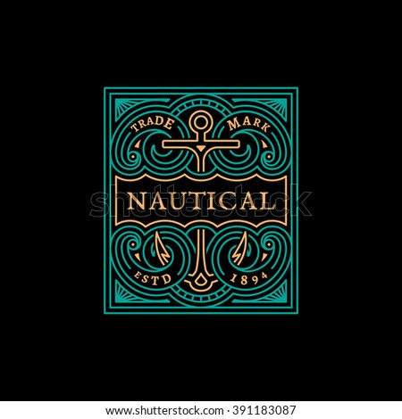 Vintage flourishes ornament label template with anchor in trendy linear style. Vector illustration. - stock vector