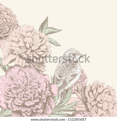 Vintage flower background. Beautiful invitation card with bird and peony - stock vector