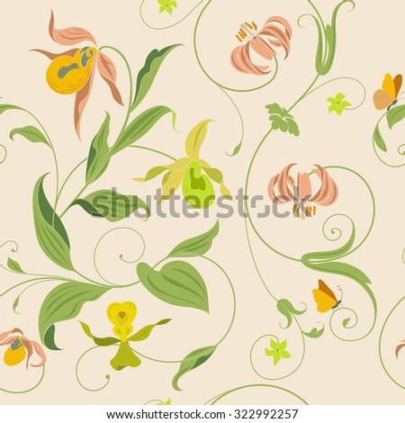 Vintage Flower Wallpaper Pattern - stock vector