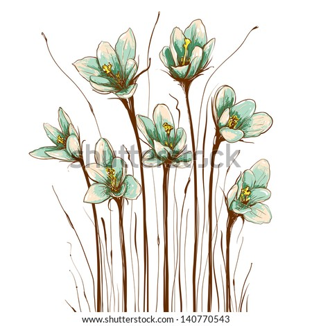 Vintage Flowers Composition. Decorative flowers background. Vector illustration EPS8. - stock vector