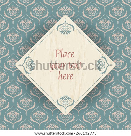 vintage flowers - light gold flower pattern on old turquoise background and a wood square with old turquoise border and place for your text - stock vector