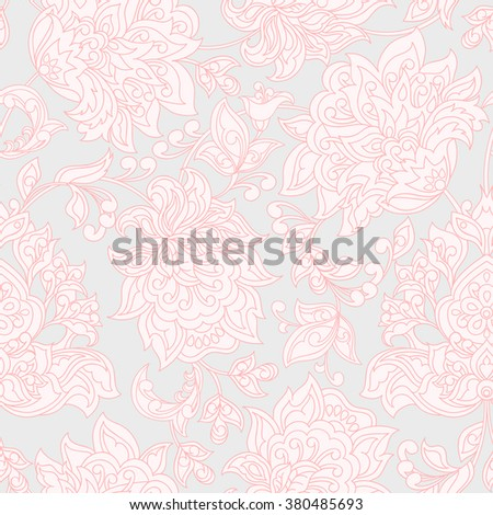 vintage flowers seamless pattern. Ethnic floral vector background - stock vector