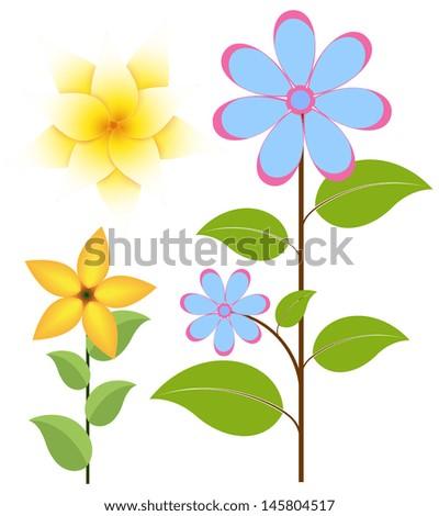 Vintage Flowers Set - stock vector