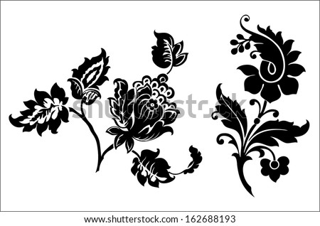 Vintage flowers. Vector illustration. Black and white - stock vector