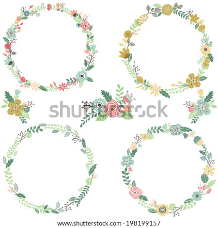 Vintage Flowers Wreath  Elements- illustration - stock vector