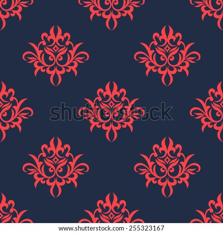 Vintage foliate seamless pattern in victorian style with elegant red pointed leaves scrolls on dark blue background suited for upholstery fabric or hangings design - stock vector